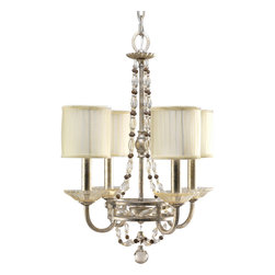 Progress Lighting - Progress Lighting P4442-34 Four-Light Chandelier With Matching Hand Painted Cand - Four-light chandelier with hand applied gold and silver layered leaf finish and graceful glass beads around a classic frame.