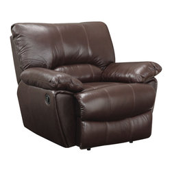 "Coaster - Clifford Recliner, Dark Brown - This durable and comfortable motion set features padded arms, recliners on the sofa ends and love seat. Kidney support backs for added comfort. Also available is a matching recliner chair. Complete this casual look in your room with this lift-top occasional group (#700247-700249).; Casual Style; Finish/Color: Dark Brown; Upholstery: Top grain leather match; Dimensions: 44""L x 39""W x 38""H"