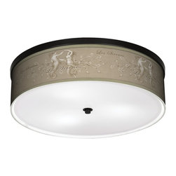 "Giclee Gallery - Les Sirenes Natural Energy Saving 20 1/4"" Wide Ceiling Light - A bronze frame sets off the appealing pattern that decorates this energy saving ceiling light. This stylish, energy-efficient flushmount ceiling fixture features a custom-made shade with a giclee process pattern printed on high-quality canvas. An acrylic disc at the bottom diffuses the light of the three included CFL bulbs. The canopy and accents are in a bronze finish. U.S. Patent # 7,347,593."