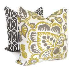 Chartreuse and Gray Jacobean Indoor/Outdoor Pillow Covers by Pop O' Color - I love using throw pillows as a way to introduce a theme or accent color to a space. They are a great (and affordable) way to test a new idea or change up the feel of a room.