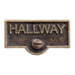 Renovators Supply - Switch Plate Tags Antique Brass HALLWAY Switch Tag 1 11/16'' W | 19471 - Forget which switch is for what? Try our ID switchplate tags and identify your switches. Our switchplate ID tags are made from SOLID CAST BRASS and come with a TARNISH-RESISTANT ANTIQUE BRASS finish. EASY installation and fits standard switchplates. Coordinating screw included. Measures 13/16 inch H x 1 11/16 inch W.