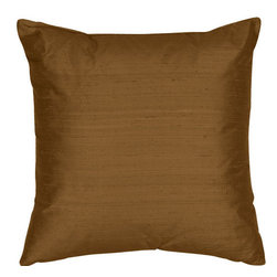 The Silk Group - Java Jade 18x18-Inch Silk Dupioni Square Poly Insert Decorative Pillow - - Handcrafted in the USA these decorative pillows are ideal for adding that special finishing touch to any space. Available in over 100 colors several of them can be combined for a grouping of complementary colors or contrasting shades. They feature 100% Grade A Silk Dupioni the finest highest quality most exquisite silk fabric on the market. A high quality knit backing is permanently bonded to the back of the fabrics used in our pillows. The knit backing adds body increased stability and longevity to the pillow. An invisible color-coordinated zipper is discretely placed on the bottom edge of the pillow so both faces of the pillow are able to be displayed. The pillow inserts we use are over-sized so our pillows will always have that desirable high soft and fluffy appearance. Our pillows are available without the insert too if you prefer to use your own. The fabric face has been treated with the most durable and permanent stain moisture and UV repellants available. This provides long lasting protection from water alcohol and oil-based stains as well as resistance from fading and discoloring over time.  - Fill Material: Down  - Dry Clean Only The Silk Group - SQ_Dup_Sol_Java_Jade_18x18_Poly
