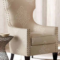 """Rowley"" Chair - The ""Rowley"" Chair is designed to delight from its arabesque-print fabric to its nailhead trim.  Pair this wonderful chair with a small table for a cozy reading nook in any room of your home.    * 36""W x 30""D x 48""T."