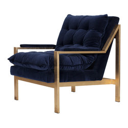 Worlds Away - Worlds Away Gold Leaf Arm Chair with Navy Velvet Cushions CAMERON GNAVY - Worlds Away Gold Leaf Arm Chair with Navy Velvet Cushions CAMERON GNAVY