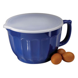 Anchor Hocking - Melamine Batter Bowl Lid 4 Qt. - 91895 - Anchor Hocking 4qt Melamine Batter Bowl w/ Lid. Blueberry color and classic flute detail - The batter bowl allows you to do it all - whip up your treat in this Blueberry Melamine bowl - deep enough to keep your contents inside and a handle to maintain a good grip on the bowl. Cookies that require chill time can be whipped up in the batter bowl and placed in the refrigerator with the lid for easy storage. Great for preparing and storing a large batch of salsa for parties as well. Not suitable for hot contents. Please do not microwave.