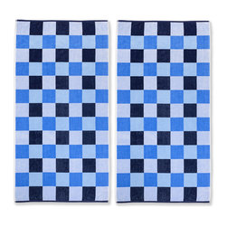 None - Superior Oversized Cool Checks Cotton Jacquard Beach Towels (Set of 2) - A soft velour side and absorbent terry side combine to form this functional cotton towel. Decorated with a cool checkered pattern,this combed cotton towel is fully machine washable for easy clean-up after a long day at the beach or pool.