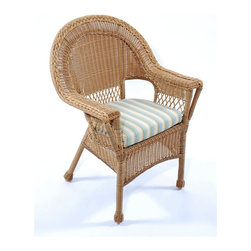 Trade Wind Treasures - Lake Living Outdoor Dining Arm Chair - Set of 2 - These dining chairs focus on easy comfort and outdoor relaxation.  Patterns are classic with braids, wraps, and basket weaves.  Arms are wide and follow the upward rounded crest along with diamond-latticed crumb space.  Resin wicker and aluminum framing for year-round use.  The Lake Living dining arm chair is designed for use outdoors, featuring a sturdy aluminum frame supporting a durable, UV resistant extruded vinyl covering that looks like wicker yet stands up to whatever Mother Nature can throw its way! * Set of 2. Includes standard outdoor seat cushion. All weather dining chair. Welded aluminum frame. Covered in hand woven UV protected extruded vinyl. Outside width: 30 in.. Inside arms: 20 in.. Seat size: 17 in. L x 17 in. W. Warranty