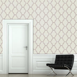 "Distressed Trellis Wallpaper, Raspberry, 25"" X 4.5' - ""Swag Paper - Empowering the Do-It-Yourselfer:"