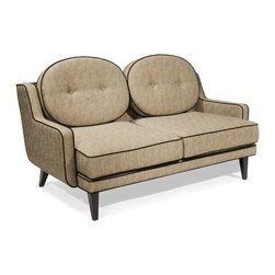 Boldt Loveseat - Cumin - The Boldt Loveseat - Cumin brings a flashy but simple 60's flair to any living space. This chic transitional loveseat is constructed with a solid wood frame and wrapped in tasteful Chenille fabric. The cumin color and round back cushion subtly calm the bold geometric lines. A dark brown trim ties the chic slanted wooden feet into the palette with a delicate flavor.About Armen LivingImagine furniture without limits - youthful, robust, refined, exuding self-expression at every angle. These are the tenets Armen Living's designers abide by when creating their modern furniture collections. Building on more than 30 years of industry experience, Armen Living combines functional versatility and expert craftsmanship into their dramatic furniture styles, all offered at price points fit for discriminating budgets. Product categories include bar stools, club chairs, dining tables, ottomans, sofas, and more. Armen Living is based in Sun Valley, Calif.