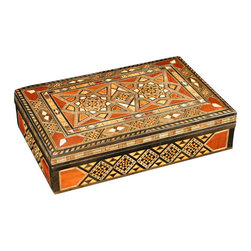 MBW Furniture - Syrian Walnut Mosaic Jewelry Box - Walnut finish w/ mother of pearl inlay  Felt-lined interiorHand madeThe mosaic furniture we import from Syria is of the highest quality found anywhere. We hand pick each piece we buy for quality. You can purchase this furniture from us cheaper than you get it in Syria believe it or not. Please consider the features below for our gorgeous 100% hand made Syrian mosaic furniture. Solid Walnut Wood Frame Hand Inlaid exotic woods like Peach wood, Apricot wood, Rose wood, Peach wood, lemon wood, cedar wood and olive wood. Genuine Inlaid Mother of Pearl (not the cheap imitations or plastic) Completely Hand Made (no mass production whatsoever). Same methods used today in the construction, where all the furniture is made in small workshops, not factories. We literally have a full time employee in Syria buying from over 30 small workshops. The Syrians are the first original producers of Arabesque mosaic inlaid furniture and accessories. Many surrounding countries like Egypt, Turkey, and Lebanon have tried to imitate the process with little success. There is a huge difference in the quality and craftsmanship and woods used. Syria sells mosaic furniture mainly to the Middle East due to heavy restrictions on importing from Syria to other countries like the USA. MBW FURNITURE, INC is one US based direct importer with the ability to import from Syria (however with extreme difficulty). We are not sure yet if we will be able to continue to import this furniture in the future due to the extreme difficulty and restrictions by customs inspections and political conditions and changes. You are getting one of a kind, unique furniture that will last a lifetime. You are getting the best Syrian mosaic furniture in the world from us; hand picked and selected, BAR NONE. Please shop around and come to us later to compare prices. Remember, there are different quality levels of Syrian mosaic furniture, we only import the cream of the crop quality