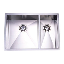 Kingston Brass - Double Bowl Undermount Kitchen Sink - The double-bowl undermount kitchen sink features two basins-- the left sink constructed in a wide sharp-curved square design and the right sink with a vertical rectangular shape--made from high quality stainless steel for reliance and durability. Both of the basins provide ample space for washing kitchen appliances as well as preparing food. The sink is also fully protected by a heavy-duty sound deadening pad to minimize noise while washing appliances in the sink.