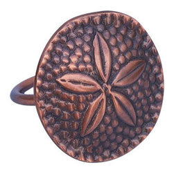 "Nautical Decor - Antique Copper Sand Dollar Napkin Ring 2"" - This Antique Copper Sand Dollar Napkin Ring 2 inch is the perfect addition for those with a nautical theme kitchen.Strong, sturdy, and durable buy a set of these napkin rings to accommodate all of your guests.The antique copper finish on this sand dollar will infuse your dining area with a rustic nautical appearance."