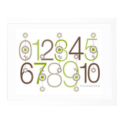 Olli and Lime - Green and Brown Bloom Numbers Print - Wall art makes a great baby gift. This design is modern and playful at the same time and could work easily in a boy's or girl's room. The numbers would be a cheerful addition to a nursery.