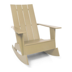 Loll Designs - 4 Slat Flat Standard Adirondack Rocker, Sand - Now you can gently rock the day away in this updated Adirondack chair. Whether you're on a seaside porch or a backyard deck, nothing says carefree living like this chic rocker.