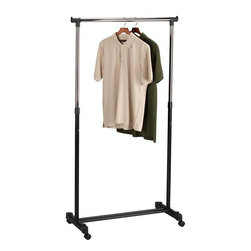 """Home Decorators Collection - Rolling Garment Rack - Whether for use in a guest room, in your laundry area or even for an added closet rod in your master bedroom, this piece is sure to please. With its convenient, adjustable-height and mobile design, you are sure to love having this closet organizer as a part of your home. Order today. Adjust to 4 different heights. Offers up to 35"""" of hanging space. Casters for mobility."""
