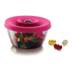 Pink Snack Dispenser - Ingenious design makes snacking more fun than it ought to be.