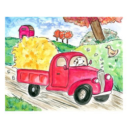 Oh How Cute Kids by Serena Bowman - Going Into Town, Ready To Hang Canvas Kid's Wall Decor, 11 X 14 - Every kid is unique and special in their own way so why shouldn't their wall decor be so as well! With our extensive selection of canvas wall art for kids, from princesses to spaceships and cowboys to travel girls, we'll help you find that perfect piece for your special one.  Or fill the entire room with our imaginative art, every canvas is part of a coordinating series, an easy way to provide a complete and unified look for any room.