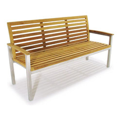 Westminster Teak Furniture - Vogue Stainless Steel and Teak 5ft Premium Bench - Constructed of EcoFriendly, Plantation Grown, Grade A Teak Wood with Stainless Steel Frame.  Optional Sunbrella Cushions available.