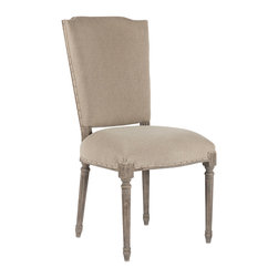 Kathy Kuo Home - Pair Ethan French Country Burlap Stenciled Letters Dining Chair - Comfortable and stylish, each Ethan chair carries its own distinct hand stenciled number on the back burlap straps.