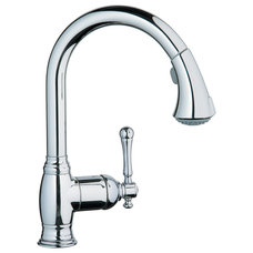 Contemporary Kitchen Faucets Grohe 33 870 000 Bridgeford Dual Spray Pull-Out Kitchen Faucet