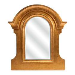 Old World Architectural Gold Wall Mirror - *Inspired by ancient Roman architecture, the Narin mirror will make a regal statement in your foyer or entryway. With beveled glass and warm gold finish, this wall accent will provide your home with a classic touch.