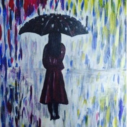 """A Walk In The Rain"" (Original) by Rebecca Sharp - I love water, and I love rainy days.."