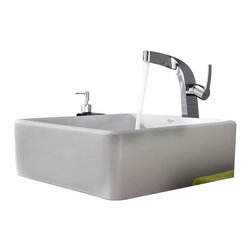 Kraus - Kraus C-KCV-120-15100CH White Square Ceramic Sink and Typhon Faucet - Add a touch of elegance to your bathroom with a ceramic sink combo from Kraus