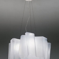 """Artemide - Artemide Logico triple nested pendant light - The Logico triple nested pendant light fromArtemide has been designed by Michele De Lucchi and Gerhard Reichert. This suspension mounted luminaire is great for diffused incandescent lighting. The Logico is composed of die cast aluminum and stainless steel with the diffuser made from handblown glass with a satined finish. The Logico pendant light exhibits an innovative and unique design, along with quality craftsmanship, that is sure to brilliantly brighten any modern atmosphere. UL listed.  Product Details:   The Logico triple nested pendant light fromArtemide has been designed by Michele De Lucchi and Gerhard Reichert. This suspension mounted luminaire is great for diffused incandescent lighting. The Logico is composed of die cast aluminum and stainless steel with the diffuser made from handblown glass with a satined finish. The Logico pendant light exhibits an innovative and unique design, along with quality craftsmanship, that is sure to brilliantly brighten any modern atmosphere. UL listed. Fluorescent not available for Logico Micro version  Details:     Manufacturer:  Artemide   Designer:  Michele De Lucchi and Gerhard Reichert     Made in: Italy   Dimensions:   Logico Micro suspension - Triple: Width: 13"""" (33cm) Heigth: 7 1/2""""  Logico Mini suspension - Triple: Width: 17 3/4"""" (45cm) Heigth: 8 3/4""""(22cm)  Logico  suspension - Triple: Width: 26"""" (66cm) Heigth: 12 1/4"""" (31cm)  Overall Heigth for all seizes is: 78 3/4"""" (200cm)     Light bulb:   Micro: 3 x 60W Incandescent - E12 candelabra  Mini: 3 x 100W - Medium Base incandescent 3X18W fluorescent  Standard: 3 x 150W Medium Base incandescent or 3X26W fluorescent     Material:  aluminum, steel, handblown glass"""
