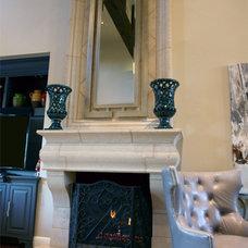 Transitional Fireplace Mantels by DeVinci Cast Stone