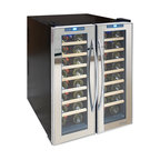 Vinotemp - Vinotemp - 48-Bottle Dual-Zone Mirrored Wine Cooler - The sleek 48-Bottle Dual-Zone Mirrored Wine Cooler allows you to accurately control the temperature of your wine with two independent temperature controlled zones for red and white wine. A quiet thermo-electric cooling system protects your bottles from unnecessary vibration. Thermoelectric cooling is not only good for your valuable wine collection but also for the environment. Using absolutely no ozone depleting chemicals such as CFC's or HCFC's you will be sure that you are doing your part to preserve the environment.