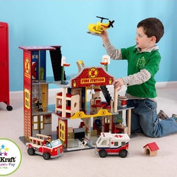 KidKraft - Deluxe Fire Rescue Set - The young firefighters in your life are sure to get a kick out of the Deluxe Fire Rescue Set. With its vibrant colors and close attention to detail, this fun set from KidKraft is sure to keep imaginations running wild for a long time. Features: -Red, Blue and Gray color theme. -Made of wood. -Sturdy construction. -Twenty-two pieces of furniture included. -Three firefighters, helipad, helicopter, ambulance and fire truck inlcuded. -Silver bell hangs from front of firehouse. - Large enough that multiple children can play at once.