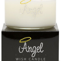 Primal Elements - Angel Wish Candle - Heavenly notes of fresh floral and exotic tea. 9.5-ounce 2-wick Wish Candles have an approximate burn time of 35-40 hours. Make a wish for yourself or share one with a friend. Our beautifully hand jeweled Wish Candles fill your space with a sparkling expression and a warm glow.