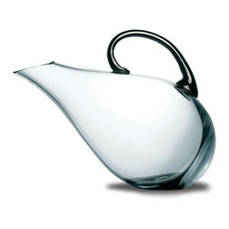 "Peugeot - Peugeot Premium Duck Decanter - Glass with Platinum Handle - 7.9""/26 oz. - So-named because the decanter silhouette is shaped like a duck. Made of hand-blown glass with platinum handle. Designed to decant young red wines, the tilted shape keeps the air in contact with the wine surface, developing and intensifying its aromas. The design also makes it easier to serve the wine, and minimizes the risk of dripping."