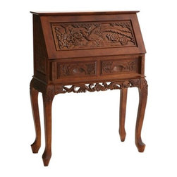 """Wildon Home � - Nelson 33"""" W Hand-Carved Drop-Front Secretary Desk - Hand crafted and carved from solid camphor wood, this cherry stained desk makes a lovely addition to your home. The front and sides are covered in ornate hand carved floral patterns that add depth and personality. The most prominent feature however, is the decorative carved scenery that features a lone fowl on the face of the drop leaf. Centered and directly below the drop front are two small drawers that provide extra storage. Lower the desk front and you will reveal ample desk space and a removable organizer for all of your bills, letters, and postage supplies. This elaborate hand carved desk is sure to make you life more organized. Features: -Hand Carved Details.-Hardwood with plywood back.-Drop-front with two working drawers.-Vertical slots behind drop lid store bills, stationery and envelopes.-Desk Height - 31'' from floor.-21'' from floor to apron.-Natural Cherry Finish.-Distressed: No.Dimensions: -Writing area - 26'' W x 24'' D.-Top - 30'' W x 6.5'' D.-Drawers - 10'' W x 9'' D x 3'' H.-Overall dimensions: 42.5'' H x 32.25'' W x 14.25'' D.-Overall Product Weight: 64 lbs.Assembly: -Assembly required."""