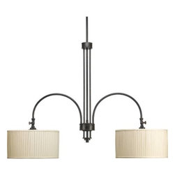 "Progress Lighting - Progress Lighting P4400-84 Clayton 2 Light Linear Chandelier in Espresso P4400-8 - 2-Lt. Linear Chandelier-Stem Mount. Highlighted by modern drum shades in cream linen fabric with soft side pleats. Finished in Espresso, this traditionally rooted design is where classic vintage styling meets minimalistic lines.Bulb Type: Medium Collection: Clayton Crystal: No Energy Star Compliant: No Finish: Espresso Height: 31"" Lamp Wattage: 100W max Length: 88"" Light Direction: Up Lighting Number of Lights: 2 Socket 1 Base: Medium Socket 1 Max Wattage: 100 Style: Rustic Type: Chandeliers Width: 40-3 4""{General Arched arms terminated with cream linen fabric drum shades: 13-1 4""Dia.x 7""H. Adjustable turnkey on each arm for customized shade direction Linear style chandelier Multi rod center column Two 6"", one 12"", and two 15"" stems supplied with concealed connectors and a 90 degree swivel in the canopy Painted Espresso (-84) finish Steel construction Companion chandeliers, pendants, close to ceiling, and wall bracket fixtures available {Mounting Ceiling mounted on stems Canopy covers a standard 4"" hexagonal recessed outlet box Mounting strap for outlet box included {Electrical Medium based ceramic sockets 10' of wire supplied Pre-wired {Labeling UL-CUL listed"