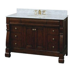 Victoria Collection Vanity - I find it hard to find ready made furniture style vanities which have the appeal and details of an actual furniture piece which as been converted. The feet keep this piece from feeling to heavy.