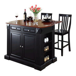 Crosley Furniture - Crosley Coventry Drop Leaf Breakfast Bar Kitchen Island with Stools in Black - Crosley Furniture - Kitchen Carts - KF300072BK