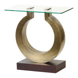 Prima Design - Omega Side Table with Glass Top - This accent table does just that, accents a room with a one-of-a-kind style and d�cor, bringing a contemporary touch to any room.