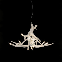Roll & Hill - Roll & Hill Superordinate Antler Chandelier - 6 Antlers - The Superordinate Antler Lamps, designed in 2003, have become influential in breaking the rigidness of contemporary modernism and initiating the back-to-nature movement in design. The natural environment offers such a breadth of beautiful forms, why not bring it indoors? The Superordinate Antlers are nature, made better. Made of ceramic, this lamp is available in white, black, chrome, or gold. Lamp ships withan air craft cable, a white 5 Diameter Canopy andhanging hardware. This lamp is UL listed and uses type E12 bulbs with a maximum wattage of 25 watts per bulb. Manufactured by Roll & Hill.Designed in 2003.