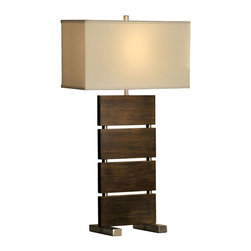 Nova - Divide Standing Table Lamp - UL Certified. 6 foot cord. light bulb not included. Elegant, unique table lamp. Modern, contemporary, dark brown, brushed nickel. Warm, high quality fabric shade. Functional and stylish. Shade Material: White Linen. Shade Dimensions: 18 x 8 - 18 x 8 - 10V. Switch Type: 3-Way. 1 Year Limited Manufacturer Warranty. 18 in. W x 32 in. H, 5.5 lbs