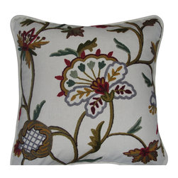 Crewel Fabric World - Crewel Pillow Miranda Light Multicolor on Off White Cotton 17x17 Inches - Features the exotic feel of a palampore with the handcrafted charm of early-American crewelwork