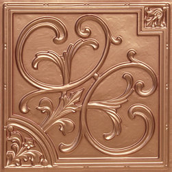 """Decorative Ceiling Tiles - Lillies and Swirls - Faux Tin Ceiling Tile - 24""""x24"""" - #204 - Find copper, tin, aluminum and more styles of real metal ceiling tiles at affordable prices . We carry a huge selection and are always adding new style to our inventory."""