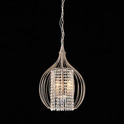 None - Compact Satin Nickel and Crystal Pendant Chandelier - The gorgeous addition of a contemporary crystal pendant chandelier will provide a sophisticated touch to any home decor. This exquisite chandelier features a brushed nickel finish with dazzling crystals, providing an elegant touch to any room.