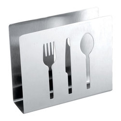 Cuisinox - Cuisinox Napkin Holder with Flatware Cut Out - Napkins are a household essential. Keep them well within reach in this attractive holder. The simplicity of this design blends in with any decor. Holds both paper and cloth napkins.