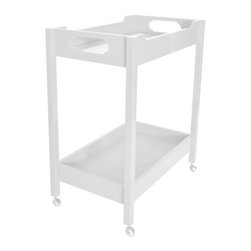 """Bar Cart - White Dove - We classify this as a necessity at the very least a """"must have"""". Made with all the oomph attention to detail, we are known for. Two shelves; top glass, bottom painted raffia. Available in 16 highly lacquered colors. Dimensions: 30L x 18W x 35H. Custom color available - call 203 216 9848 for details. Made in USA."""