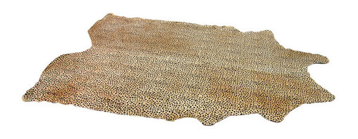 Kathy Kuo Home - Namibia Painted Cheetah Hide Rug - This hand-tanned cowhide is painted with an exotic cheetah pattern. Each rug is one of a kind, like the endangered species it depicts. The neutral tones enhance a living room, enliven a library and add an adventurous accent in front of a fireplace.
