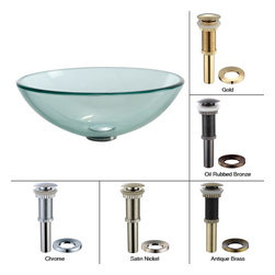 Kraus - Kraus Clear Glass Vessel Sink with PU-MR Gold - *Fashionable bathroom sink is the perfect harmony of elegance and style