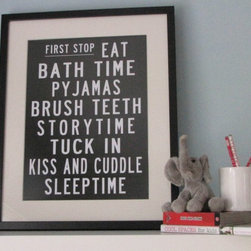 Bedtime Bus Roll Poster by My Sweet Prints - I don't have kids yet, but this print is definitely going up in my future nugget's bedroom. How sweet is it? It just expresses my love for black and white and boldness. I hope my little one loves it as much as I do.