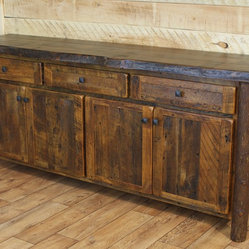 Reclaimed Buffet, Live Edge Red Pine Top - Pictured with live edge red pine top and cedar bark ...