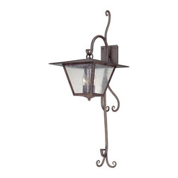 Troy Lighting - Troy Lighting Potter Transitional Outdoor Wall Sconce X-2592B - The Troy Lighting Potter Transitional Outdoor Wall Sconce has versatile transitional style in an old world lantern style outdoor wall light. The fired iron finish and seeded glass shade give a traditional wrought iron feeling to this chic outdoor wall light fixture. The adjustable scrolling arms can be lengthened or shortened for a custom look.